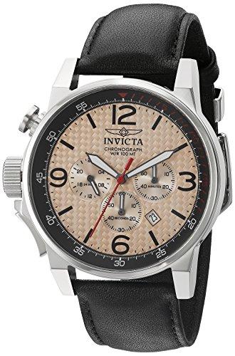 Invicta Herren 46mm Chronograph Schwarz Leder Armband Mineral Glas Uhr 20134