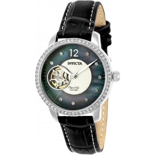Invicta Objet D Art Damen Armbanduhr Armband Leder Schwarz Gehaeuse Edelstahl Automatik Analog 22620