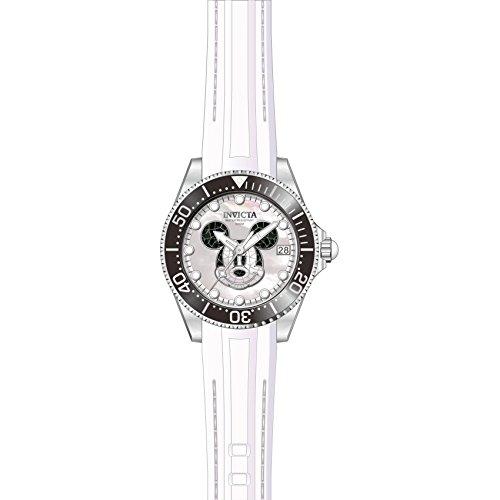 Invicta Disney Damen Armbanduhr Armband Silikon Schwarz Gehaeuse Edelstahl Automatik Analog 22753