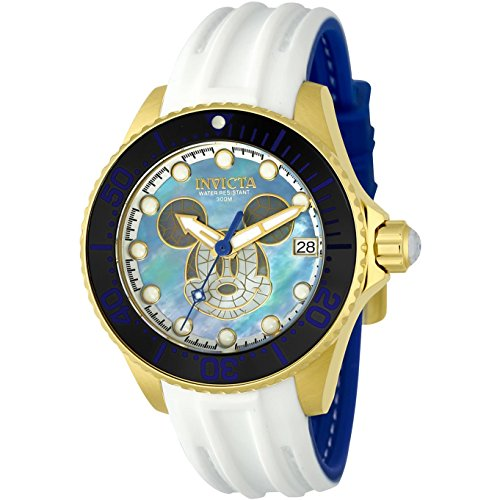 Invicta Disney Damen Armbanduhr Armband Silikon Weiss Gehaeuse Edelstahl Automatik Analog 22754