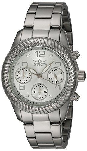 Invicta Angel Damen Armbanduhr Armband Edelstahl Gehaeuse Schweizer Quarz Zifferblatt Silber Analog 20265