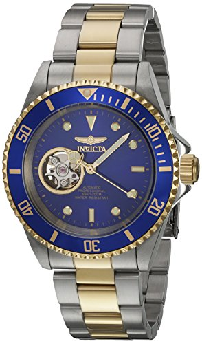 Invicta Pro Diver Damen Armbanduhr Armband Edelstahl Gold Gehaeuse Automatik Zifferblatt Schwarz 21719