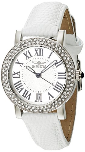 Invicta Angel Damen Armbanduhr Armband Leder Weiss Gehaeuse Edelstahl Quarz Zifferblatt Silber Analog 21996