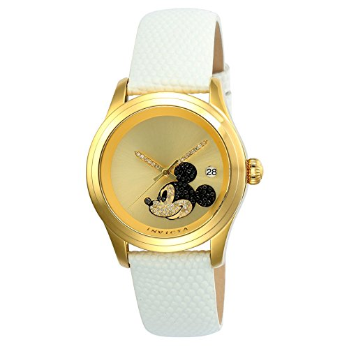 Invicta Disney Damen Armbanduhr Armband Leder Weiss Gehaeuse Edelstahl Automatik Zifferblatt Gold 22726