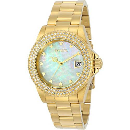 Invicta Disney Armband Edelstahl Gold Gehaeuse Schweizer Quarz Zifferblatt Silber 22731
