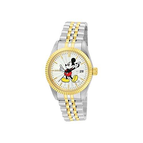 Invicta Disney Damen Armbanduhr Armband Edelstahl Gold Gehaeuse Quarz Zifferblatt Silber Analog 22776