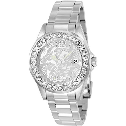 Invicta Disney Damen Armbanduhr Armband Edelstahl Gehaeuse Quarz Zifferblatt Silber Analog 22869