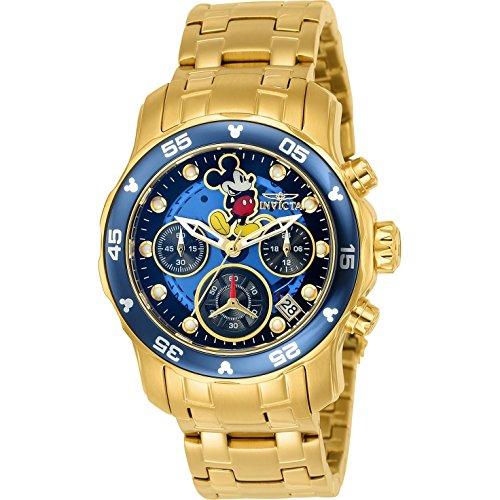 Invicta Disney Armband Edelstahl Gold Gehaeuse Quarz Zifferblatt Blau Analog 24130