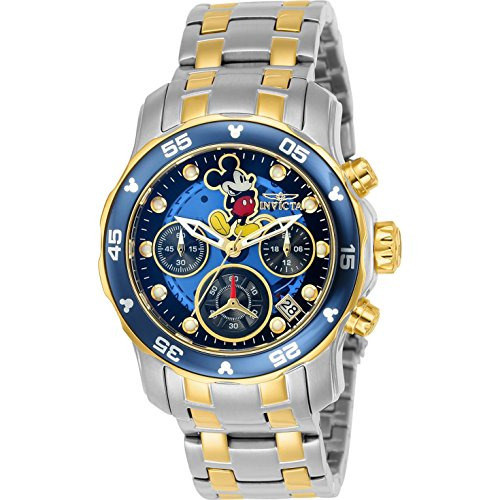 Invicta Disney Armband Edelstahl Gold Gehaeuse Quarz Zifferblatt Blau Analog 24133
