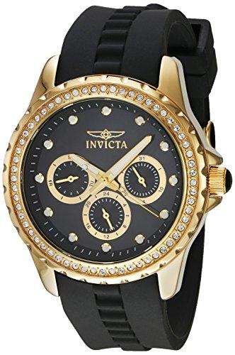 Invicta Angel Damen Armbanduhr Armband Kunststoff Schwarz Gehaeuse Edelstahl Quarz Analog 21904