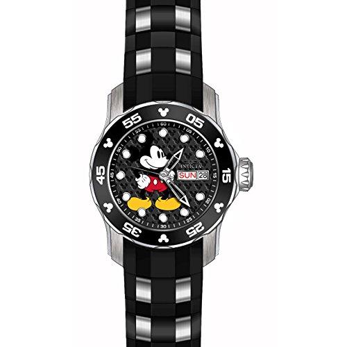 Invicta Disney Armband Kunststoff Schwarz Gehaeuse Edelstahl Quarz Analog 23770