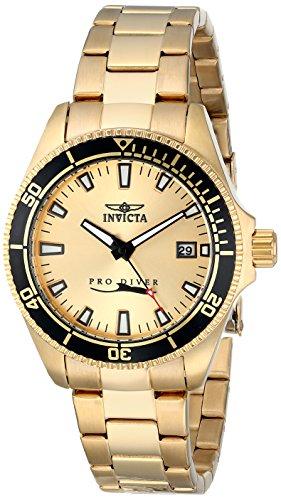 Invicta Pro Diver Damen 37mm Gold Edelstahl Vergoldet Armband Datum Uhr 15138SYB