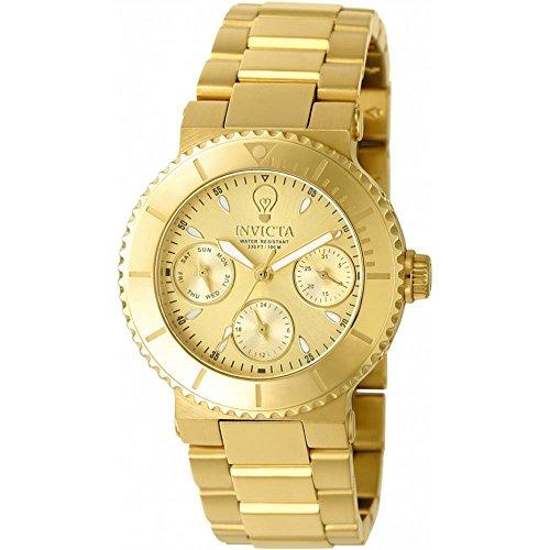 Invicta Gabrielle Union Armband Edelstahl Gold Gehaeuse Schmelz Flamme Quarz 22895
