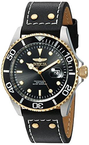 Invicta Pro Diver 43mm Armband Leder Schwarz Gehaeuse Edelstahl Quarz Analog 22074