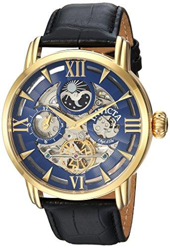 Invicta Objet D Art Armband Leder Blau Gehaeuse Edelstahl Automatik Analog 22651