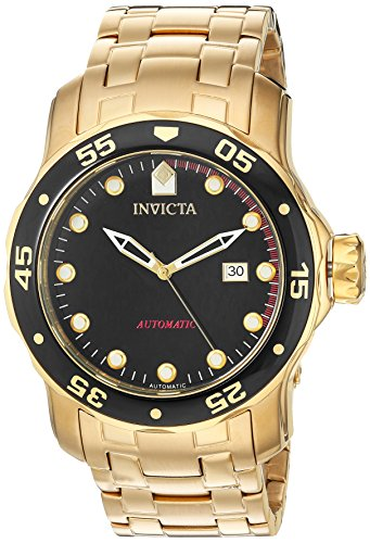 Invicta Pro Diver Herren Armbanduhr 48mm Armband Edelstahl Gold Gehaeuse Schmelz Flamme Automatik 23632