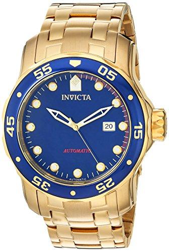 Invicta Pro Diver Herren Armbanduhr 48mm Armband Edelstahl Gold Gehaeuse Schmelz Flamme Automatik 23633