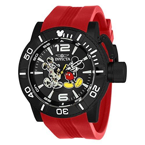 Invicta Disney Herren Armbanduhr Armband Silikon Lila Gehaeuse Edelstahl Automatik Analog 23790