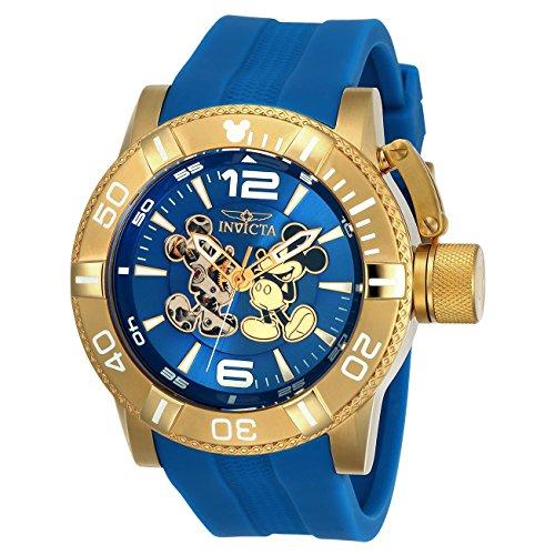 Invicta Disney Herren Armbanduhr Armband Silikon Blau Gehaeuse Edelstahl Automatik Analog 23791