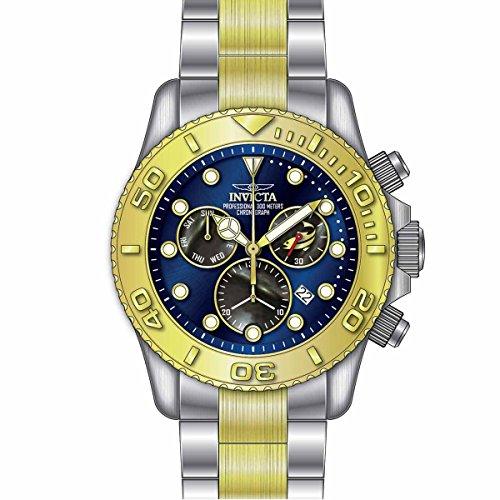 Invicta Pro Diver Armband Edelstahl Gold Gehaeuse Schweizer Quarz Analog 20346