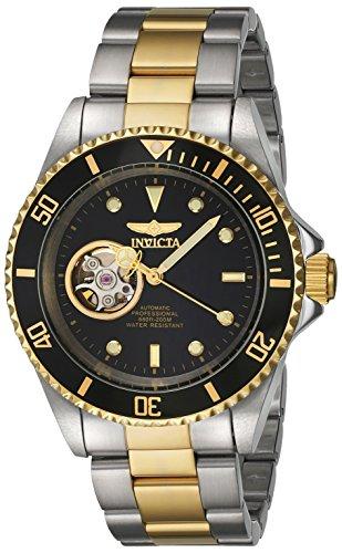 Invicta Pro Diver Armband Edelstahl Gold Gehaeuse Automatik Zifferblatt Schwarz 20438