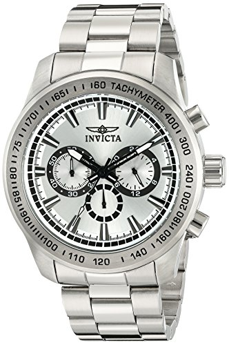 Invicta Speedway Herren Armbanduhr Armband Edelstahl Gehaeuse Quarz Zifferblatt Silber Analog 21794