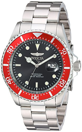 Invicta Pro Diver Herren Armbanduhr Armband Edelstahl Gehaeuse Batterie Zifferblatt Schwarz Analog 22020