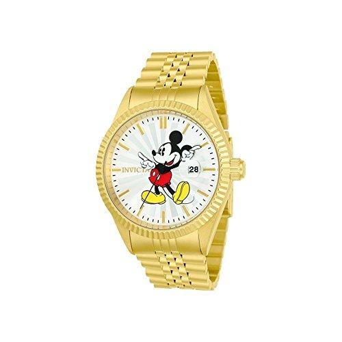 Invicta Disney Armband Edelstahl Gold Gehaeuse Quarz Zifferblatt Silber Analog 22770