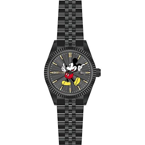 Invicta Disney Armband Edelstahl Schwarz Gehaeuse Quarz Zifferblatt Kohle Analog 22771