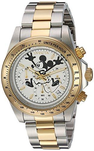 Invicta Disney Armband Edelstahl Gold Gehaeuse Quarz Zifferblatt Weiss Analog 22865