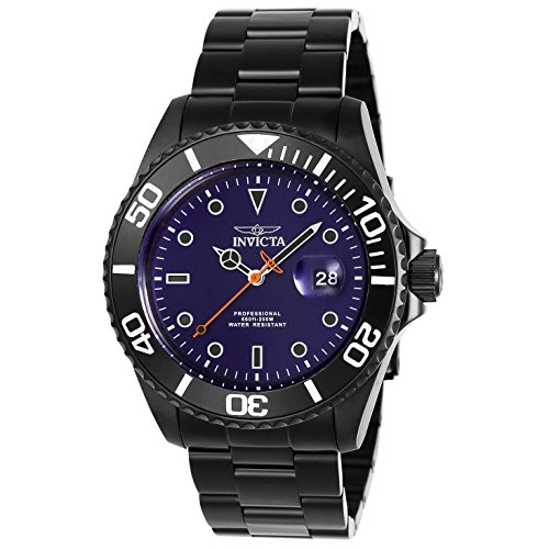 Invicta Pro Diver Armband Edelstahl Schwarz Gehaeuse Quarz Zifferblatt Blau 23008