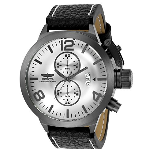 Invicta Corduba Armband Leder Schwarz Gehaeuse Edelstahl Quarz Zifferblatt Silber 23690