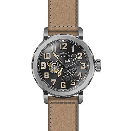 Invicta Disney Herren Armbanduhr Armband Leder Beige Gehaeuse Edelstahl Automatik Zifferblatt Gruen 23797