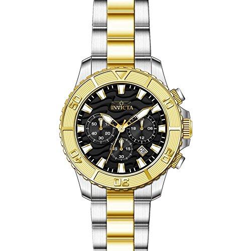 Invicta Pro Diver Armband Edelstahl Gold Gehaeuse Quarz Zifferblatt Schwarz 24003