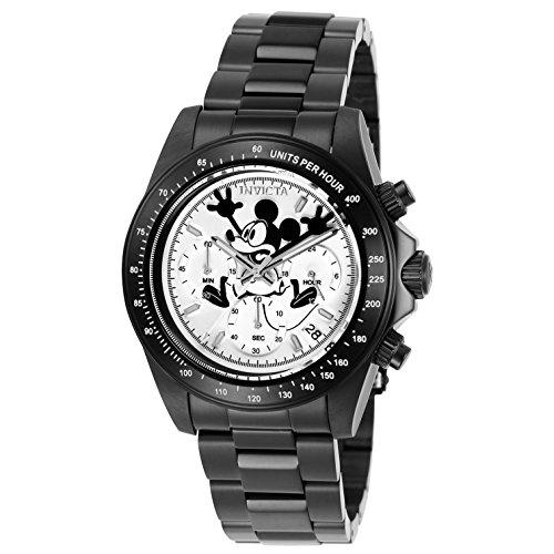 Invicta Disney Herren Armbanduhr Armband Edelstahl Schwarz Gehaeuse Automatik Zifferblatt Weiss 24417