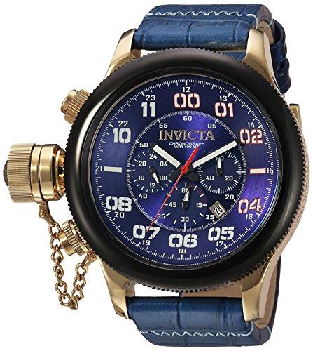 Invicta Russian Diver 54mm Armband Leder Blau Gehaeuse Edelstahl Quarz Analog 22292