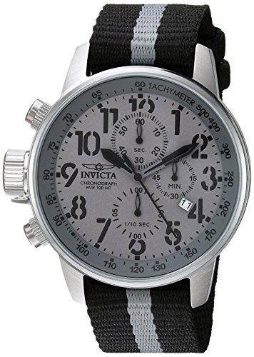 Invicta I Force Armband Nylon Grau Gehaeuse Edelstahl Quarz Analog 22846