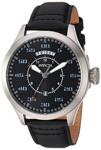 Invicta Aviator Armband Leder Schwarz Gehaeuse Edelstahl Schmelz Flamme Quarz 22972