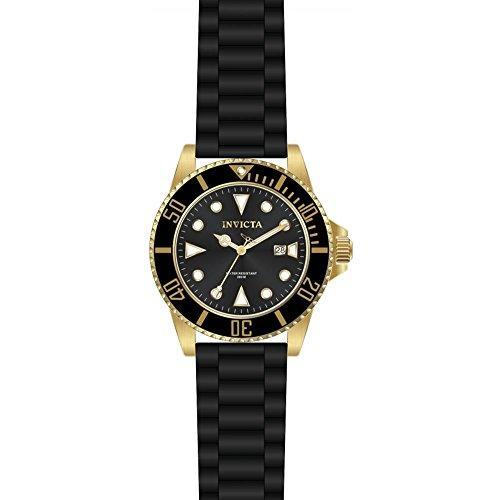 Invicta Pro Diver Armband Silikon Schwarz Gehaeuse Edelstahl Quarz Analog 90303