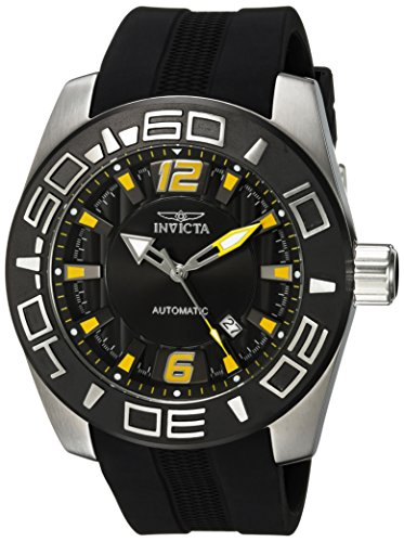 Invicta Aviator Herren Armbanduhr 50mm Armband Kunststoff Schwarz Gehaeuse Edelstahl Automatik 23529