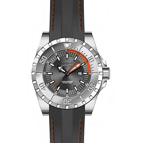 Invicta Pro Diver Armband Kunststoff Grau Gehaeuse Edelstahl Quarz Analog 23737