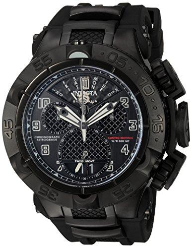 Invicta Jason Taylor Herren Armbanduhr Armband Kunststoff Schwarz Gehaeuse Edelstahl Schweizer Quarz 22282