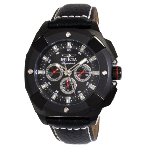 Invicta 44mm Armband Leder Schwarz Gehaeuse Vergoldetes Edelstahl Quarz Chronograph 7292