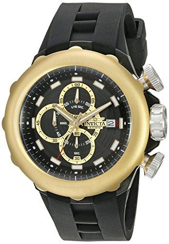 Invicta I Force Herren Armbanduhr 50mm Armband Silikon Gehaeuse Vergoldetes Edelstahl Quarz 16910SYB