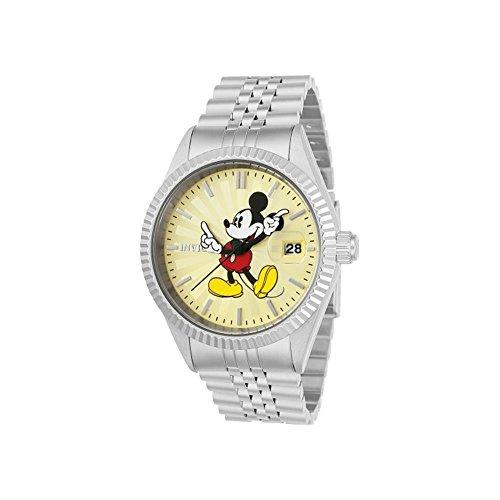 Invicta Disney Herren Armbanduhr Armband Edelstahl Gehaeuse Quarz Zifferblatt Champagner Analog 22769