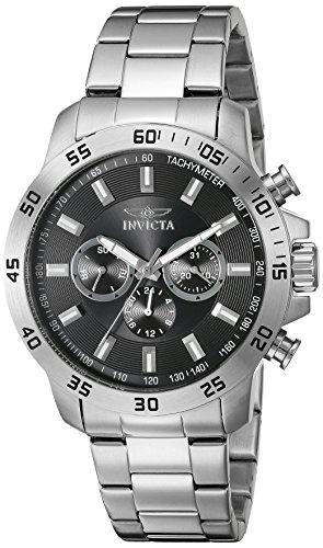 Invicta MenHerren Quarzuhr mit schwarzem Zifferblatt Chronograph Anzeige und Silber Edelstahl Armband 21502
