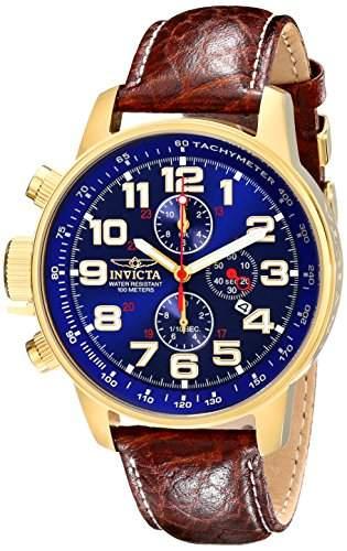 Invicta Herren-Armbanduhr XL Chronograph Quarz Leder 3329