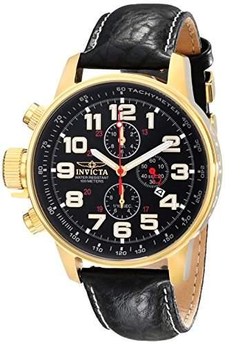 Invicta Herren-Armbanduhr XL Chronograph Quarz Leder 3330