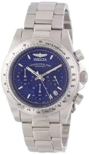Invicta Speedway MenHerren Quarzuhr mit blauem Zifferblatt Chronograph Anzeige auf Silber-Edelstahl-Armband 9329