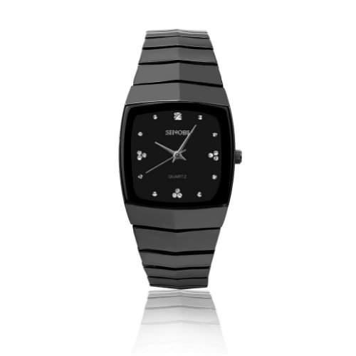 BlingWorld Sinobi Quartz-Herren-Armbanduhr aus rostfreiem Stahl, schwarzes Ziffernblatt, Schwarz  silberfarben